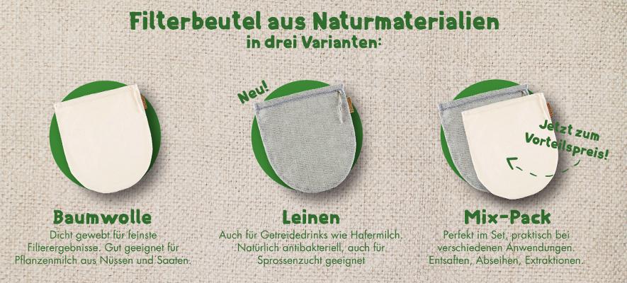 Nussmilchbeutel und Seihtücher in 3 Varianten
