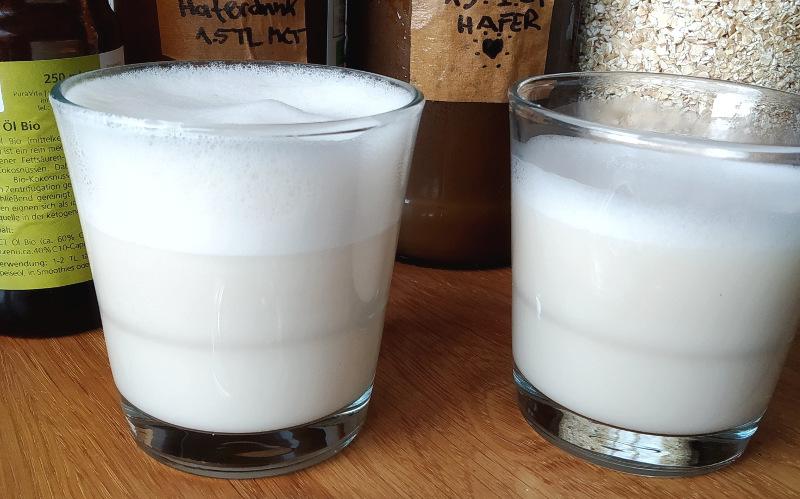 Vergleich Hafermilch Schaum
