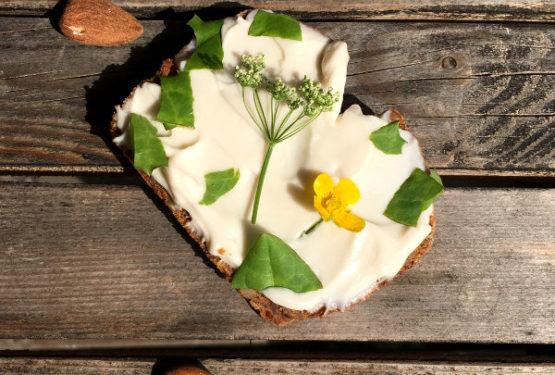 Frischecreme aus Mandeljoghurt dekoriert mit Wildkräutern
